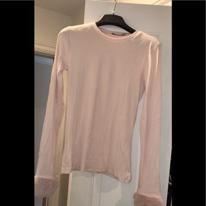 Zara light pink ribbed shirt with fur sleeves
